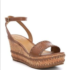 NWOT Jack Rogers Lennon Wedge Strappy Sandal Brown